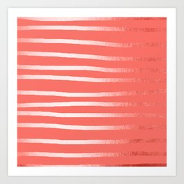 Living Coral Rose Gold Simply Drawn Stripes Art Print