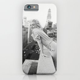Mari-lyn Monroe on a Balcony in New York , Gift, Home Decor, photography, American icon, actress, Vintage poster, print iPhone Case