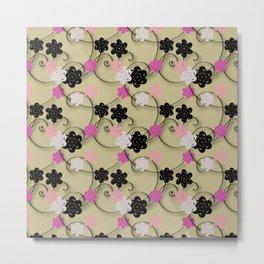 Pink White Black Flower Pattern Metal Print