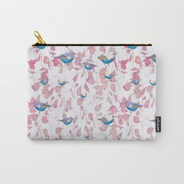 Bird surface pattern design - Light pastel pink (Screen printed) Carry-All Pouch