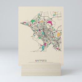 Colorful City Maps: Sapporo, Japan Mini Art Print
