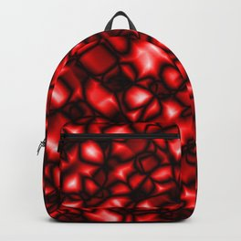 Bright bubbly bloody surface of glass spherical molecules on black metal.  Backpack