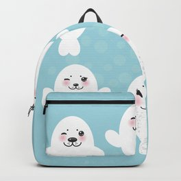 Funny white fur seal pups, cute seals with pink cheeks and big eyes. Kawaii albino animal Backpack