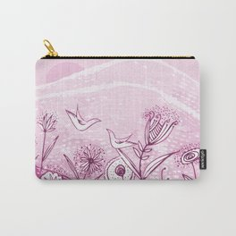 Bird and Flower Pink Friendship and Love Art Carry-All Pouch