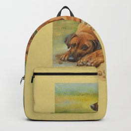 Rhodesian Ridgeback Dog portrait in scenic landscape Painting Backpack