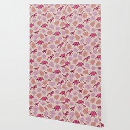 Dinosaur jungle illustration pattern hot pink girls Wallpaper