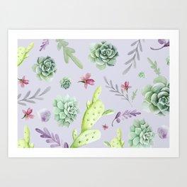 Cactus Watercolor Pattern 8 Art Print