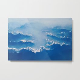 Blue mountains, white clouds Metal Print