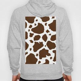 cow spots animal print dark chocolate brown white Hoody