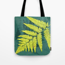 From the forest - lime green on teal Tote Bag