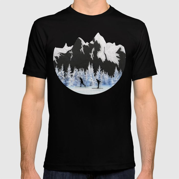 ee91f9b1 Cross Country Skiing T-shirt by amandaroyale | Society6