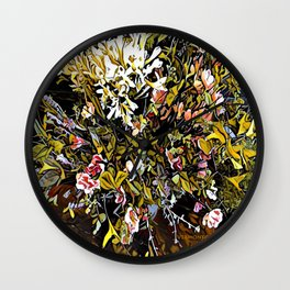 Yellow and Pink Bouquet of Flowes Wall Clock