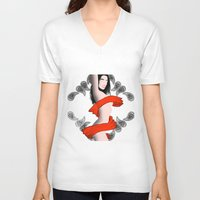 women V-neck T-shirts featuring Women by CLEMUS_THINGS