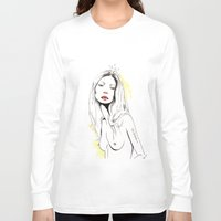 kate moss Long Sleeve T-shirts featuring Moss by Lizzy Mailho