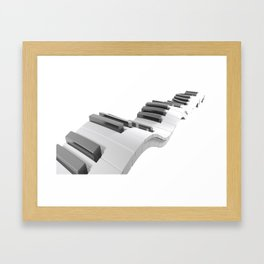 Keyboard of a piano waving on white background - 3D rendering Framed Art Print