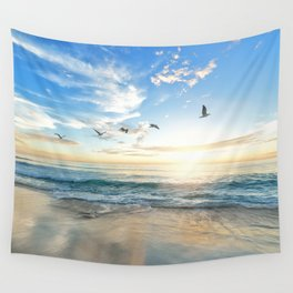 Ocean Beach Waves Sunset Photo Wall Tapestry