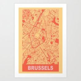 Brussels, Belgium, city map, Golden Yellow Art Print