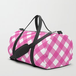 Pink & White Checkered Pattern-Mix and Match with Simplicity of Life Duffle Bag