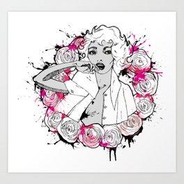 RING OF ROSES GRAFFITI Art Print