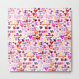 Love doodles in pink colors Metal Print