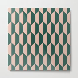 Classic Trapezoid Pattern 241 Forest Green and Dusty Rose Metal Print