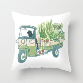 TukTuk Car/Cat Delivery Plants & Flowers Throw Pillow