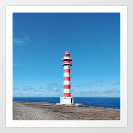 Striped Lighthouse in Gran Canaria Overlooking the Atlantic Ocean Art Print