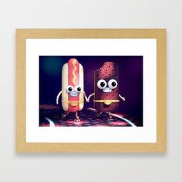 Hot Dog & Ice Cream Roller Disco Framed Art Print