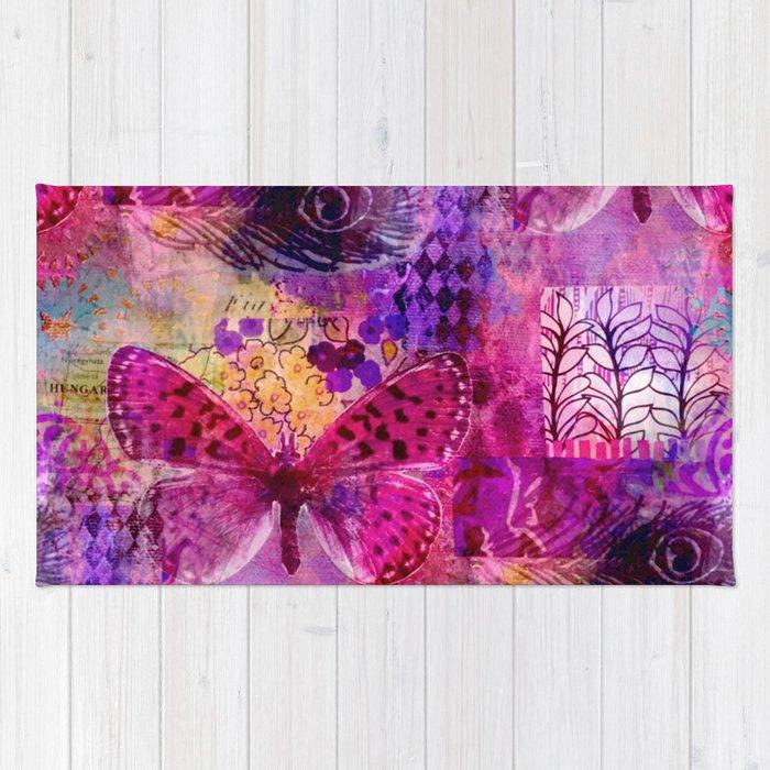 Butterflies Dream In Pink Rug