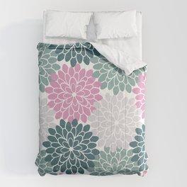 Petal in Rose, Cyan and Milky Grey Comforters