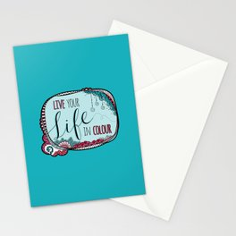 Live Your Life in Colour Aqua Stationery Cards