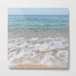 Lake Michigan Waves Breaking on Sandy Beach Metal Print