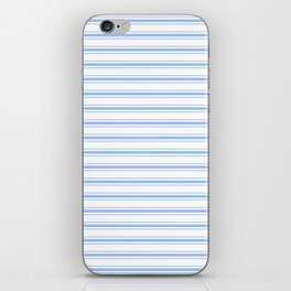 Mattress Ticking Wide Striped Pattern in Pale Blue and White iPhone Skin