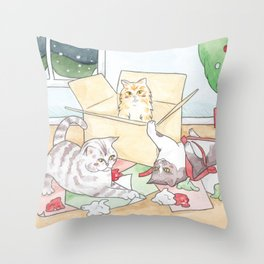 Christmas Cats // Watercolour illustration of cats playing with wrapping paper & boxes Throw Pillow