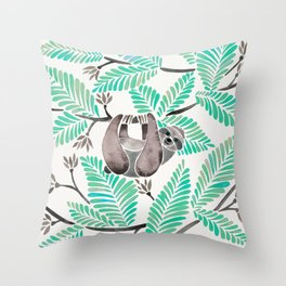 Happy Sloth – Tropical Mint Rainforest Throw Pillow