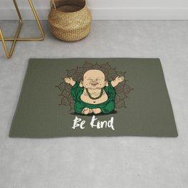 Be Kind Little Buddha Cute Smiling Buddha over mandala Rug