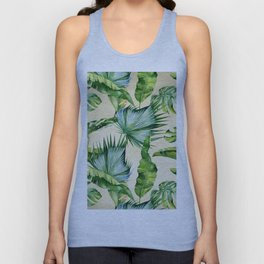 Green Tropics Leaves on Linen Unisex Tank Top
