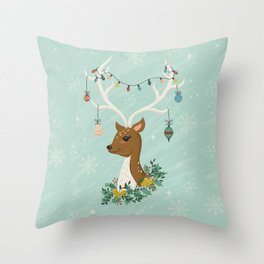 Vintage Inspired Deer with Decorations Throw Pillow