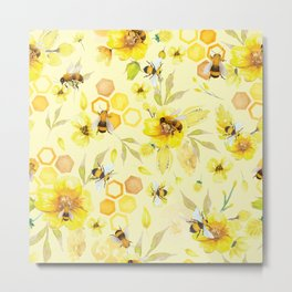 Busy Bees  Yellow Pattern Metal Print