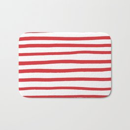 Red hand drawn stripes Bath Mat