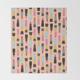 Lipstick and makeup Brushes Pastel Watercolor Artwork | Make-up Pattern | Orange Makeup pattern Throw Blanket