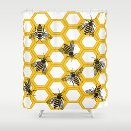 Honeycomb.Flat vector Shower Curtain