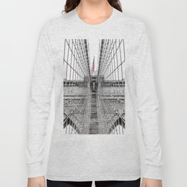 The Brooklyn Bridge and American Flag Long Sleeve T-shirt