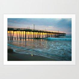 Beach Pier Sunrise Ocean Outer Banks Nags Head North Carolina Print Art Print