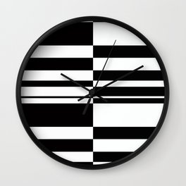 Abstract striped pattern. black and white . Wall Clock