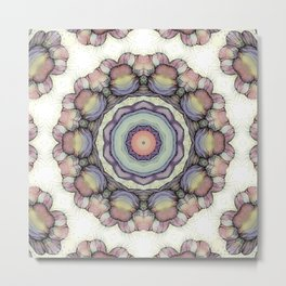 Abstract flowers mandala Metal Print