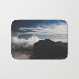 Clouds over the mountains Bath Mat