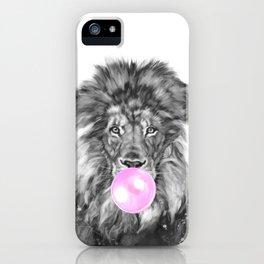 Bubble Gum Lion Black and White iPhone Case