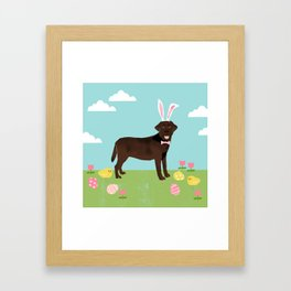 Chocolate Lab labrador retriever dog breed pet art easter portrait costume spring Framed Art Print