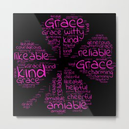 Grace name gift with lucky charm cloverleaf word Metal Print